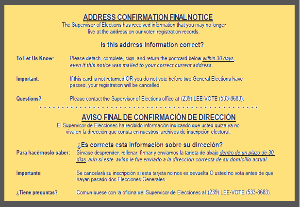 Yellow postcard- Address Confirmation Final Notice