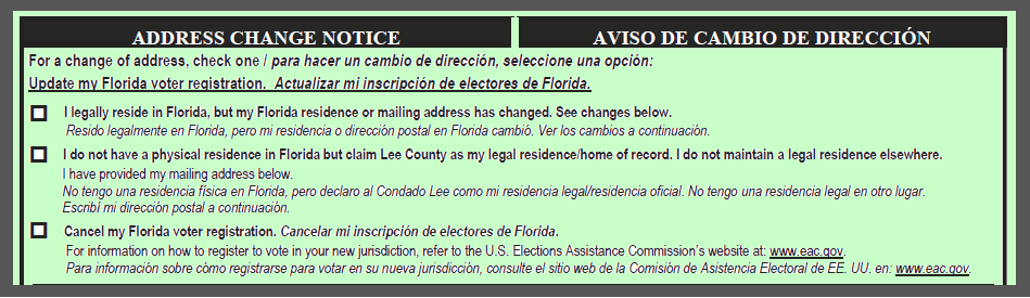 Green postcard- Address Change Notice